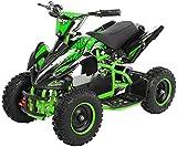 Actionbikes Motors Kinder Elektro Miniquad ATV Racer 1000 Watt 36 Volt - Scheibenbremsen - Safety Touch System Fußschalter (1000 Watt Schwarz/Grün)