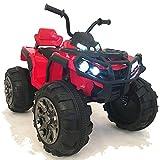 crooza 12V Kinder Quad / ATV mit 2X Motoren Kinderauto Kinderfahrzeug Kinder Elektroauto mit Fernbedienung /echtes FM-Radio/mp3/USB/SD Leser/Federung (Rot)